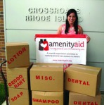 Liz Duggan making the first Amenity Aid donation to Crossroads RI Amenity Aid provides  travel size toiletries to RI's homeless through direct donations to Crossroads RI. (Photo credit Amenity Aid)