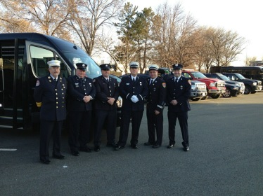 In tribute: NKFFA members gather for funeral services for fallen Boston firefighters, Michael Kennedy and Edward J. Walsh on April 3, 2014. Left to Right Deputy Chief Walter Burrows (Ret.), FF Fred Divers, FF Chris Beattie, Lt. Matthew Kennett, Captain Raymond Furtado FF Nick Simmons. (photo credit NKFFA Local 1651/Raymond Furtado)