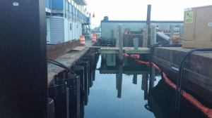 New corrugated steel bulkhead in place at the dock at Champlin's Seafood in Galilee. (Photo Tracey C. O'Neill June 2014)