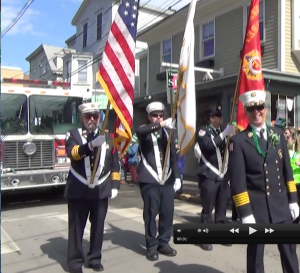Chief Fenwick Gardiner, Jr. leads department members in Newport's St. Patrick's Day Parade 2014 (Photo Tracey C. O'Neill).