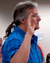 Kevin Finnegan, Owner Ocean Mist Bar is sworn before a meeting of the RI CRMC on June 24. (Photo Tracey C. O'Neill)