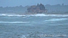 Hurricane Bertha pounds the Westerly shore in August. (Photo Credit Tracey C. O'Neill)