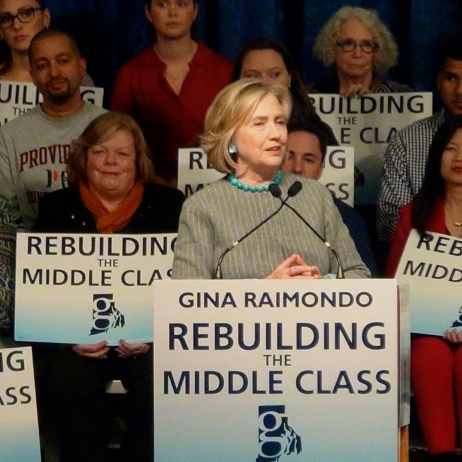 Hillary Clinton at Rhode Island College with Gina Raimondo in October 2014. (Tracey C. O'Neill)