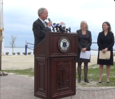 Governor Lincoln Chafee announces the draft plan of the RI EC3 in May in Bristol. (Photo Tracey C. O'Neill)