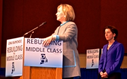 Hillary Rodham Clinton and GIna Raimondo address women and wages at GOTV rally at RIC in October. (Photo Credit Tracey C. O'Neill)