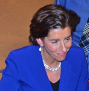 Gina Raimondo, Democratic  gubernatorial candidate walks the rope line at RIC. (Photo Tracey C. O'Neill)