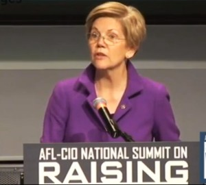 Sen. Elizabeth Warren (D-MA) joins union leaders at the AFL-CIO Raise the Wage summit in Washington, D.C. on January 7.