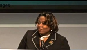 Lakia Wilson, Counselor Detroit Public Schools addresses AFL-CIO Raise the Wage summit on January 7.