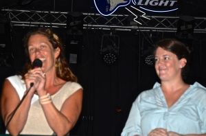 Rep. Teresa (Left) Tanzi throws her support behind Liz Gledhill (Right) at a fundraiser at the Ocean Mist in September. (Photo Tracey C. O'Neill)