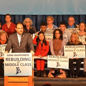 Michael F. Sabitoni, President of the Rhode Island Building and Construction Trades Council stumps for Gov. Gina Raimondo in May 2014. (Photo Tracey C. O'Neill)