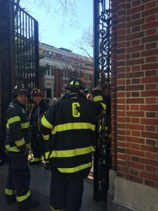 Cambridge firefighters on scene at Monday's bomb scare at Harvard University. (Photo Courtesy Meg Bernhard/Harvard Crimson)