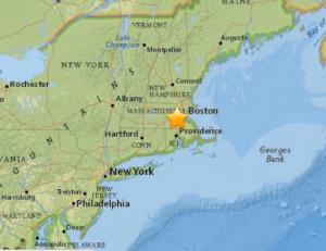 USGS: 42.196°N 71.399°W depth=4.6 km (2.9 mi)