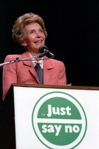 "5/13/1987 Nancy Reagan speaking at a ""Just Say No"" Rally in Los Angeles California"