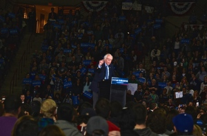 U.S. Senator and Democratic Presidential candidate Bernie Sanders addresses a crowd of more than 8,000 supporters at UMASS Amherst in February
