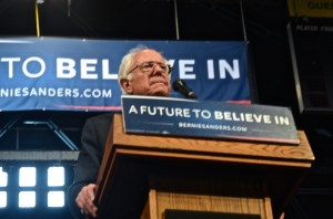 U.S. Sen. Bernie Sanders (I-VT) pauses for a moment to take in the more than 4,000 supporters gathered in Albany, NY on April 11. (Photo Tracey C. O'Neill)