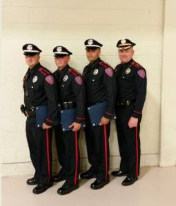 Patrol Officer Ryan J. Bourque (far left) poses with fellow Rhode Island Municipal Police Academy graduatesChief Mello posed with our three new probationary police officers at their graduation from the Rhode Island Municipal Police Academy! Congratulations to them! Andrew Dutra, Michael Carrasquillo, and Chief Mello. Photo Courtesy Jamestown Police Department/Facebook