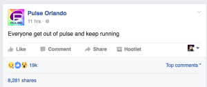 Pulse nightclub posted to their Facebook account as the mass shooting took place on June 12. (Photo: Screen shot)