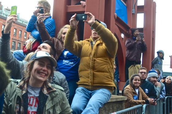 Sanders supporters in Albany vie for a position to see the Democratic Presidential Candidate. An overflow crowd of thousands crowded streets outside Albany's Armory. (Photo Tracey C. O'Neill)