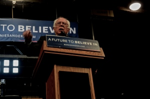 Democratic Presidential Candidate U.S. Sen. Bernie Sanders rallies a crowd in Albany, NY on April 24, 2016. Photo Tracey C. O'Neill