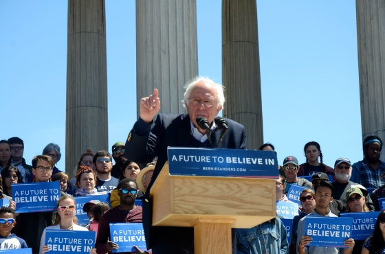 Democratic Presidential Candidate U.S. Sen. Bernie Sanders encourages a crowd of more than 7,000 supporters in Providence, RI to participate in Democracy, on April 24, 2016. Photo Tracey C. O'Neill