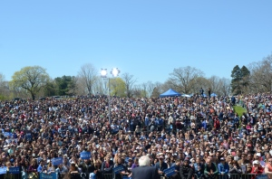 More than 7,000 supporters turned out to hear Democratic Presidential Candidate Bernie Sanders speak in April at Roger Williams Park in Providence, Rhode Island. Photos Tracey C. O'Neill