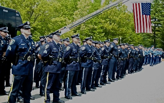 052916_Tarentino_TCO_Members of the Boston and Massachusetts State Police Departments stand in honor of fallen Auburn Police Officer Ronald J. Tarentino, Jr. on May 26, 2016. Tarentino's end of watch came on May 22 when he was fatally shot during a routine traffic stop. Photo Tracey C. O'Neill