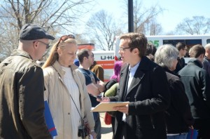 Evan LeBrun, Field Director U.S. Sen. Bernie Sanders presidential campaign signs RI supporters up for ground canvassing on April 10 in Providence. Sanders officially opened headquarters in Rhode Island in advance of the state's primary on April 26. Tracey C. O'Neill