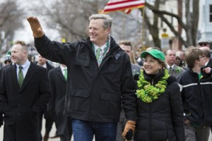 Photo Elsen/Getty Images Governor Charlie Baker of Massachusetts and wife Lauren Baker march in the annual South Boston St. Patrick's Parade passes on March 20, 2016 in Boston, Massachusetts. Baker was named America's most popular governor.