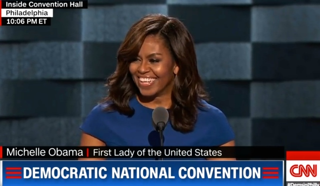 Michelle Obama speaks at the 2016 Democratic Convention in Philadelphia Photo Screen grab CNN Live