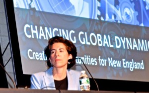 Gov. Gina Raimondo joined her counterpart , Massachusetts Gov. Charlie Baker at the 30th annual World Trade Day at Bryant College in May. Raimondo made the Fortune magazine Top 50 World Leaders list for her work on pension reform in RI. Photo courtesy Tracey C. O'Neill photography
