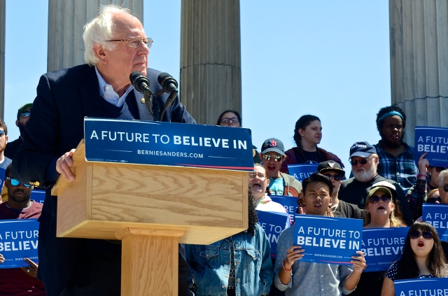 U.S. Sen. Bernie Sanders, Democratic presidential candidate rallies supporters at the Temple to Music in Roger Williams Park in April. Sanders was leading in polling heading into the state's primary on April 26. Photos courtesy Tracey C. O'Neill